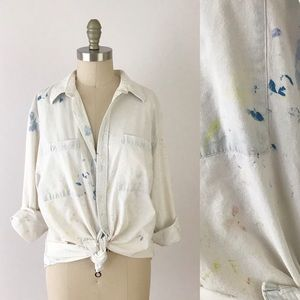 Vintage Painterly Washed Cotton White Shirt A523